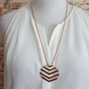 New Trina Turk Gold Chevron Pendant Necklace
